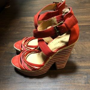 Nine West strappy thick heels/wedges